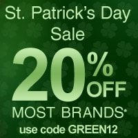 St. Patrick's Day Sale! Save 20% on Most Brands!