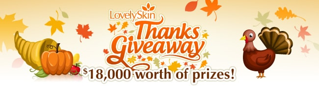 Enter to win $18,000 worth of free beauty products during the Thanksgiveaway at LovelySkin.com!